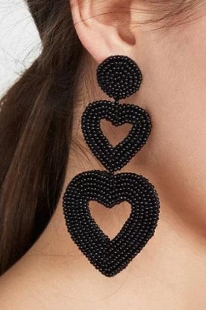 Black Hearts Earrings