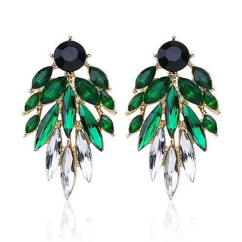 Green and Clear Gems Earrings