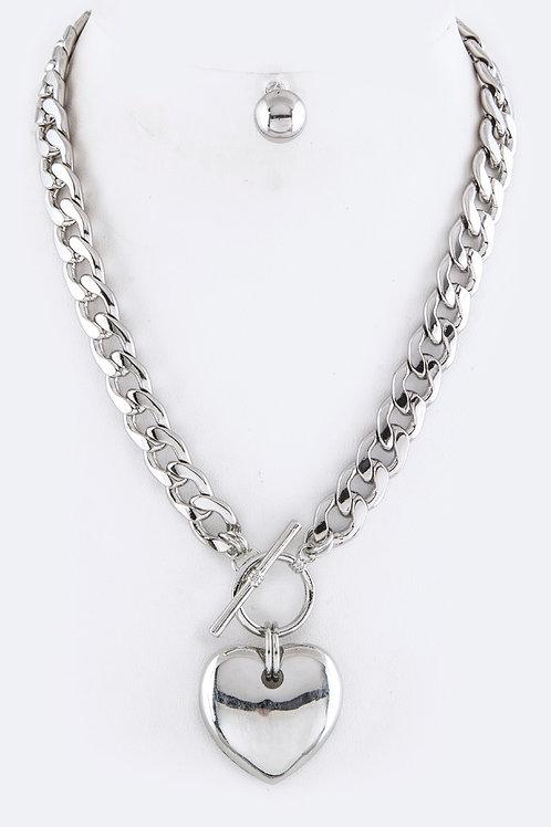 Heart Pendant Necklace Set