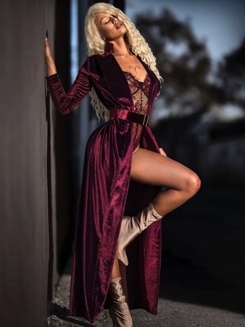 Wine long velvet cardigan