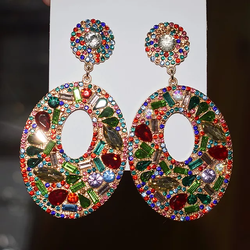 Multi color Gemstone Round Earrings