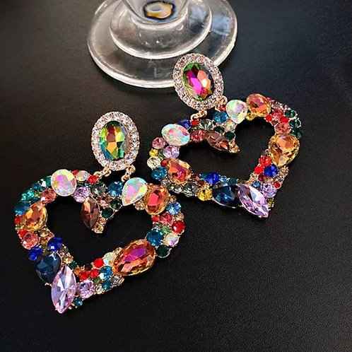 Multicolor Gems Heart Shape Earrings