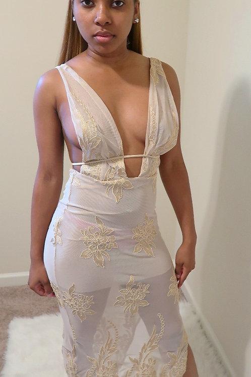 V Neck Lace Sheer Gold Maxi Dress
