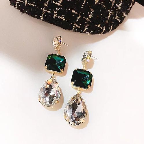 Green Rhinestone Earrings w Crystal