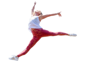 Instructor Jessica Gleason jumping