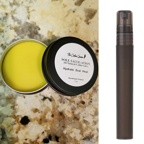 Sole Salve-ation 2oz Tin Can and Black Frosted Cuticle Oil Container