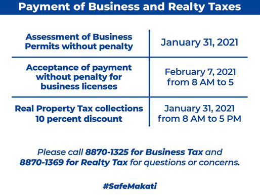 EXTENSION OF DEADLINE OF ASSESSMENT AND PAYMENT OF BUSINESS AND REALTY TAXES