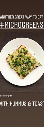 hummus and toast with microgreens