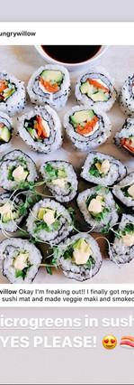 microgreens on sushi