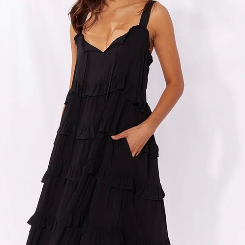 Frill Maxi Dress  Black