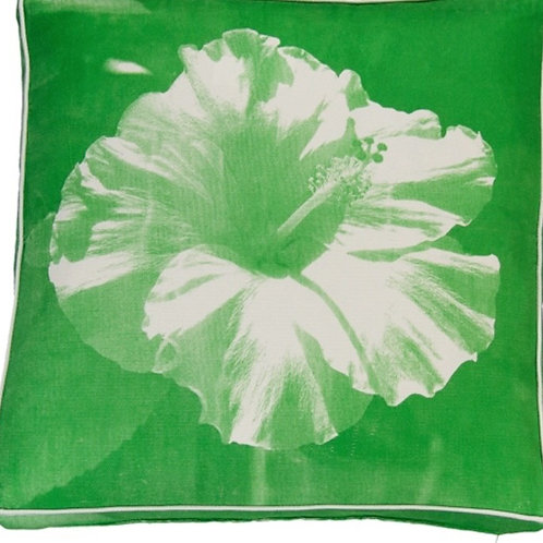 Green Hawaiian Hibiscus Cushion - Coca Mojo