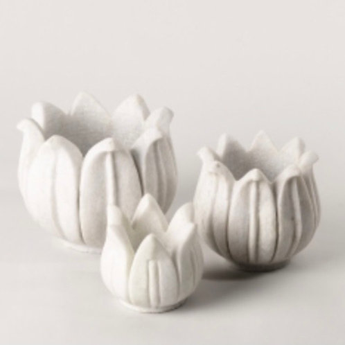 Marble Lotus Candle Holder