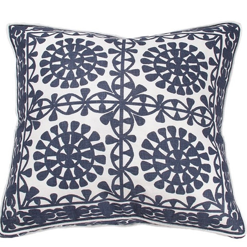 Linen Moroccan Tile Marine Cushion - Coca Mojo