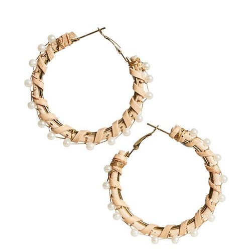 Luxe Hoop Earring - Pearl Rattan