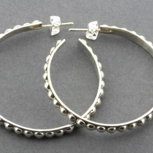 Mini Beaded Hoop Stud Earring