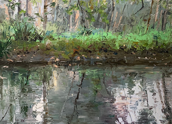 Late autumn light on the creek - 57 X 57 cm