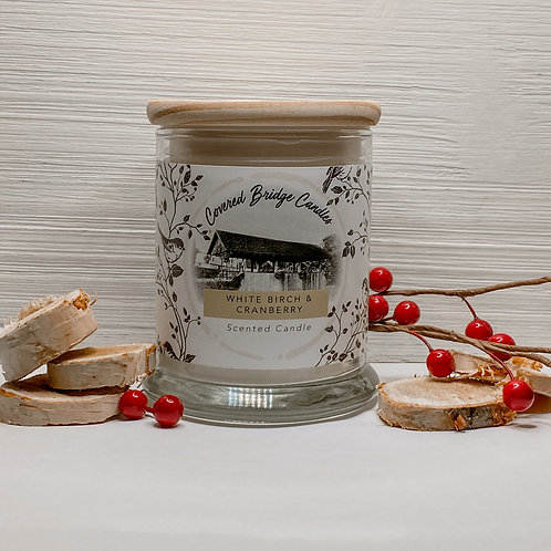 WHITE BIRCH & CRANBERRY Soy Wax Candle 8 oz