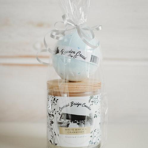 CANDLE BATH BOMB SET - White Birch & Cranberry / Sweet Dreams