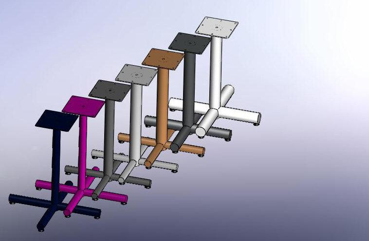 Round tube Tbases, table legs, desk legs