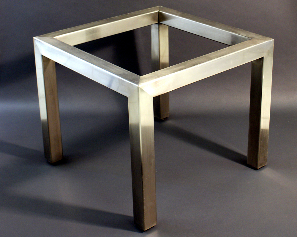Metal Parsons table frame for glass