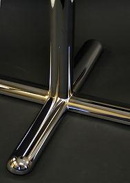 Heavy duty tubular X table base with half round foot profile