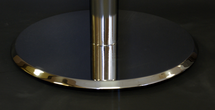 Bevel edge spun metal disk base