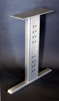 Table base, desk leg with integral wire management panels