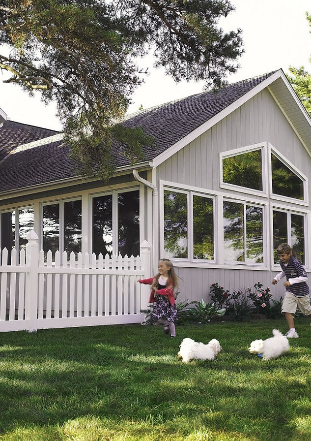 Pet fence - white vinyl fence installation in Saddle River, NJ