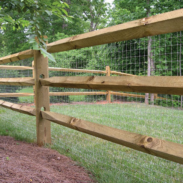 3 Rail Split Rail with Welded Wire