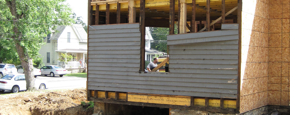 Front shot of under construction home by general contractors near me in North Caldwell, NJ