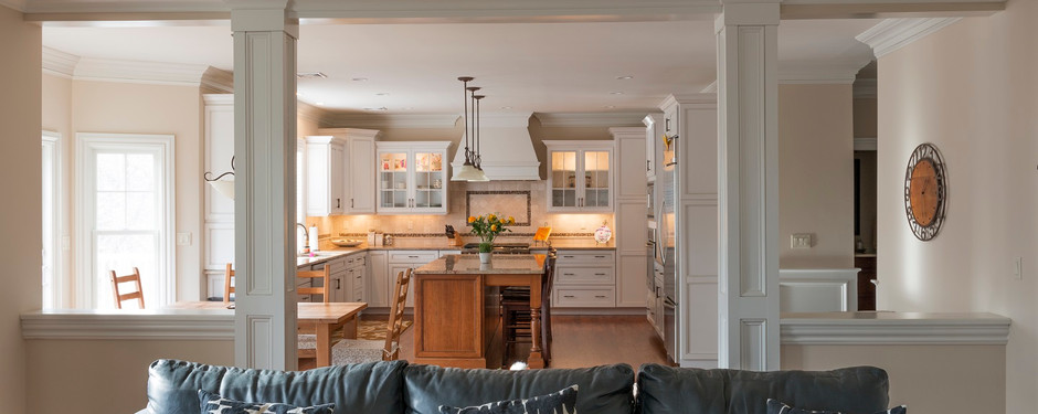 Outstanding living room and kitchen by home builders in Mountain Lakes, NJ