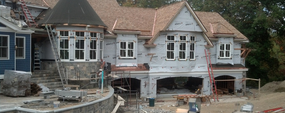 Almost done house by custom home builders in Mountain Lake, New Jersey