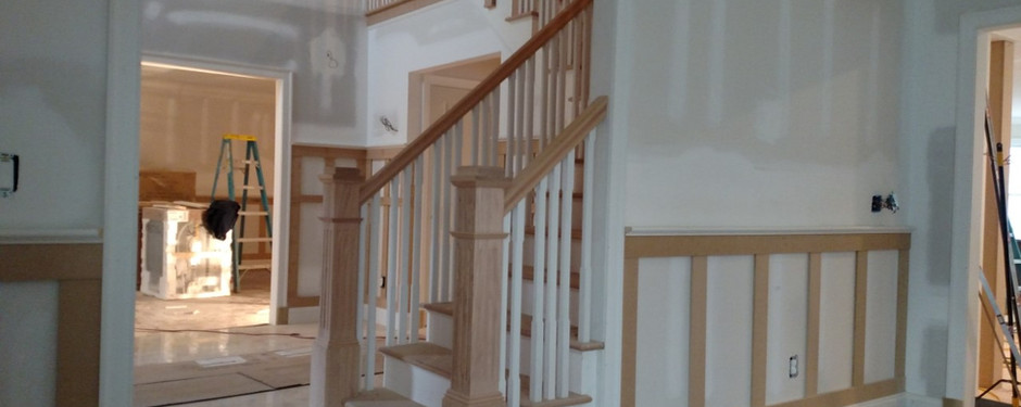 Under construction living room with staircase by home remodelers in Kinnelon, NJ