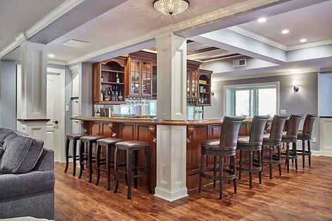 Beautiful bar done by custom home builders in Upper Saddle River, NJ