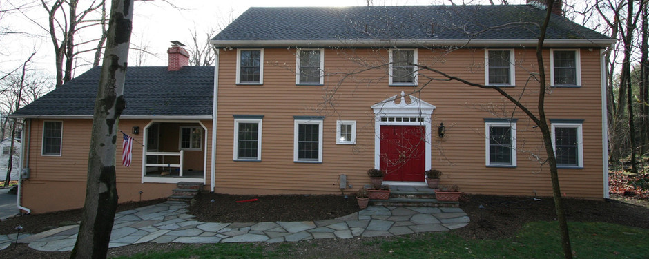 Front image of house made by custom home builders in Upper Saddle River, NJ