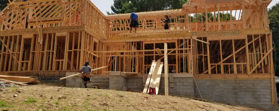 Home under construction by home builders in Mountain Lakes, New Jersey