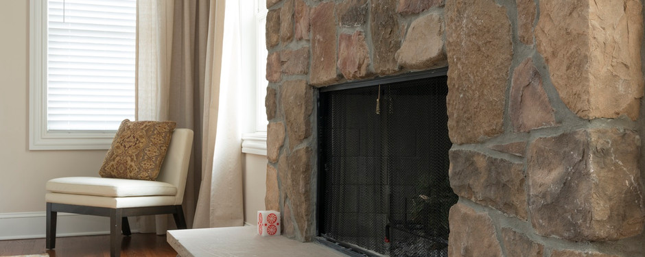 Carefully designed fireplace by custom home builders in Mountain Lakes, NJ