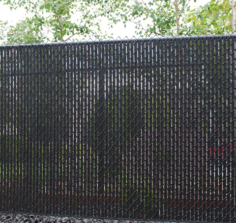 Chain Link with Privacy Slats  Commercia