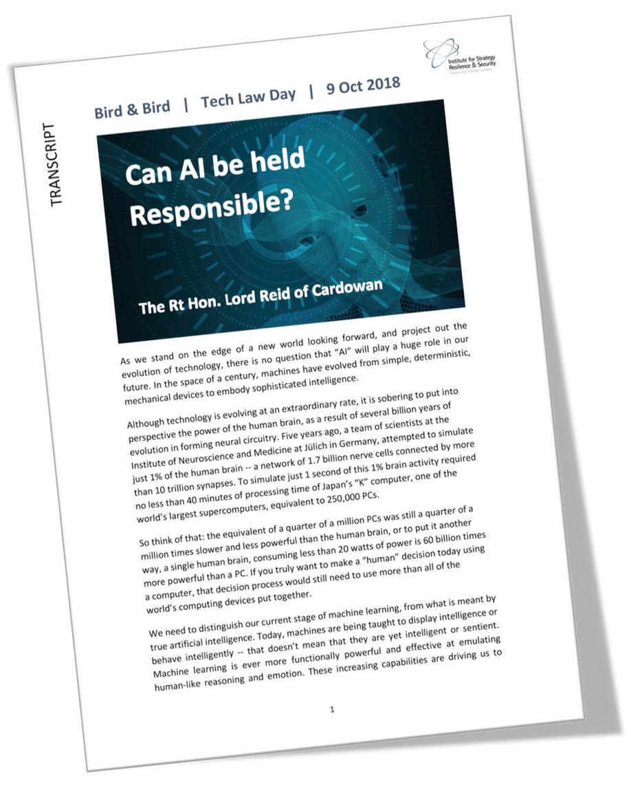 """""""Can AI be held responsible?"""" - a keynote speech by The Rt Hon Lord Reid of Cardowan"""