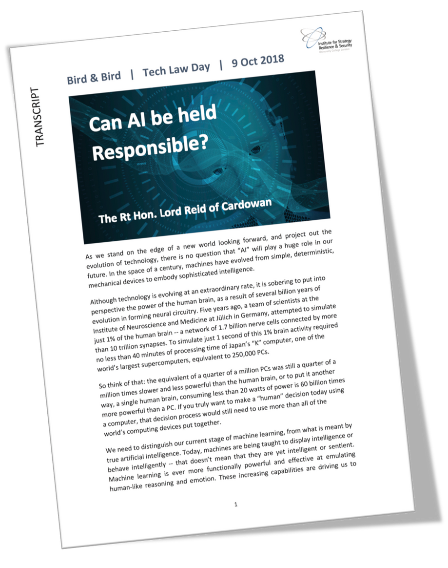 """Can AI be held responsible?"" - a keynote speech by The Rt Hon Lord Reid of Cardowan on th"