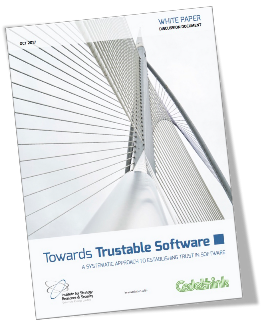 """ISRS and Codethink publish """"Towards Trustable Software"""" addressing the risks of reliance on software"""