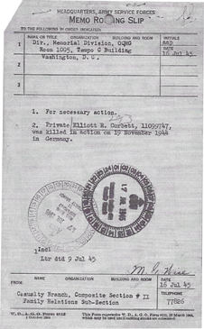 Memo KIA | Date July 16 1945