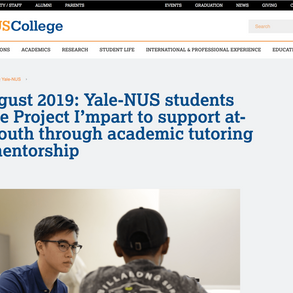 Impart Beginnings, featured by Yale-NUS College