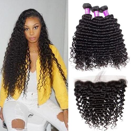 Deep Wave Human Hair Weave 10A Grade