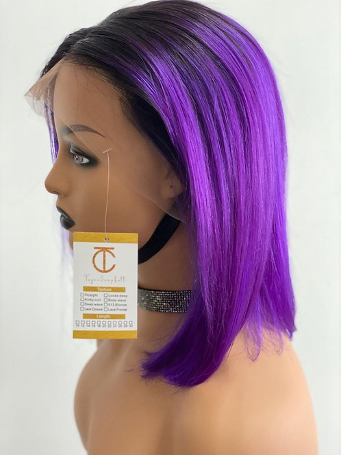 Purple Lazed Front Wig With Black Roots