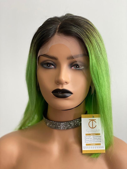 Green Laced Front Bob wig with black roots