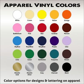 Apparel Vinyl Color Chart