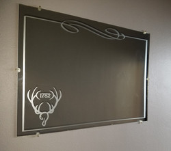 ELKS Lodge Etched Glass Decal on Mirror