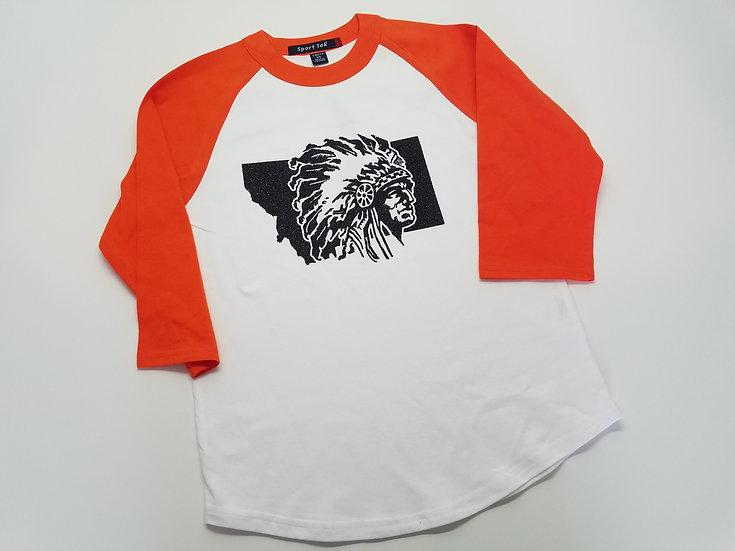Savage Montana Raglan T-shirt with Black Glitter Design.