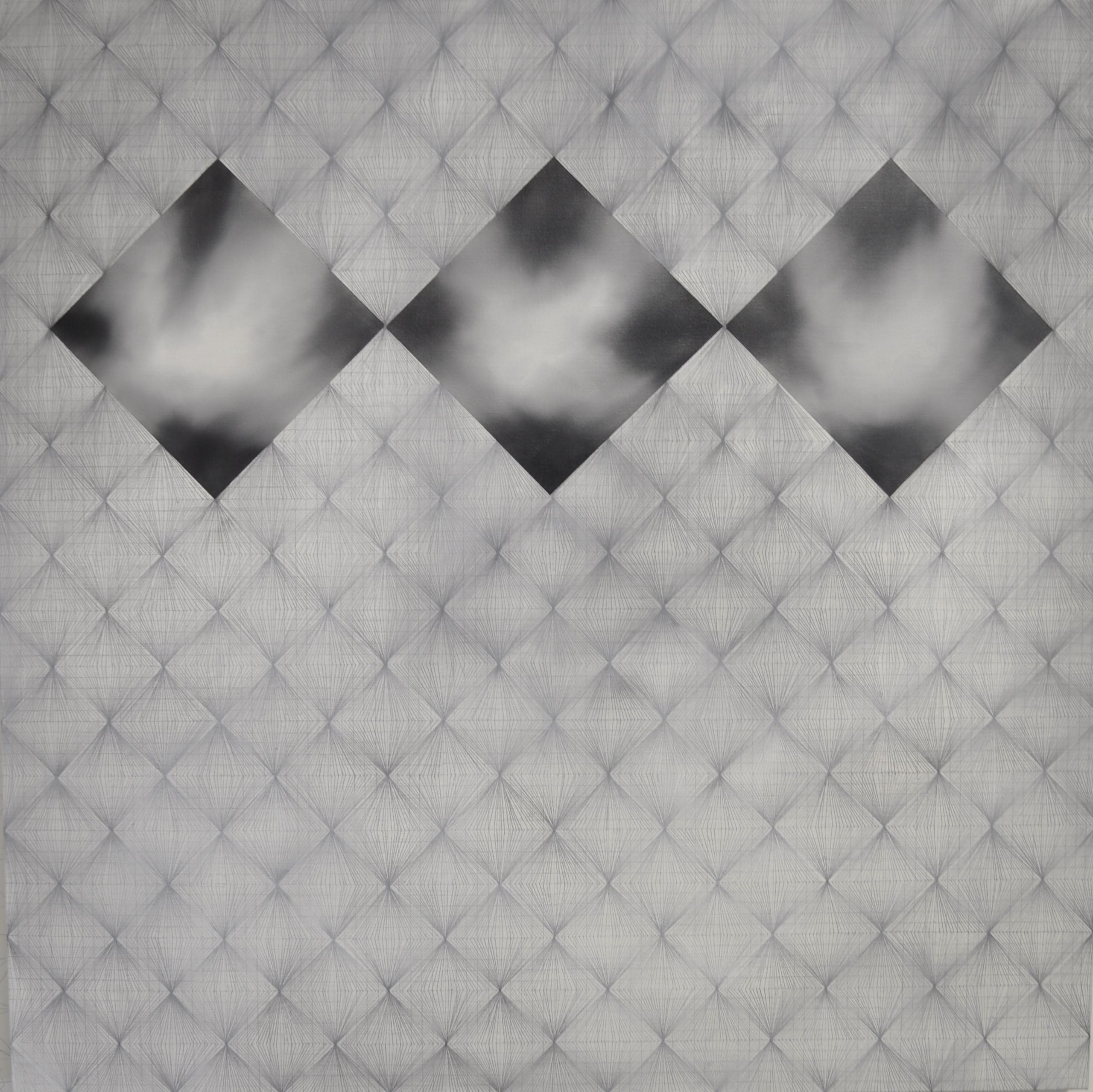 Tonal Composition in Black White & Grey 100x100 Oil & Graphite on Canvas 2009.jp